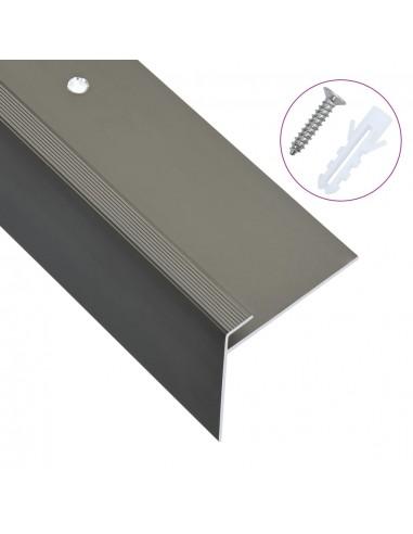 Profiliai laiptams, 15vnt., rudi, 100cm, aliuminis, F formos | Laiptai | duodu.lt
