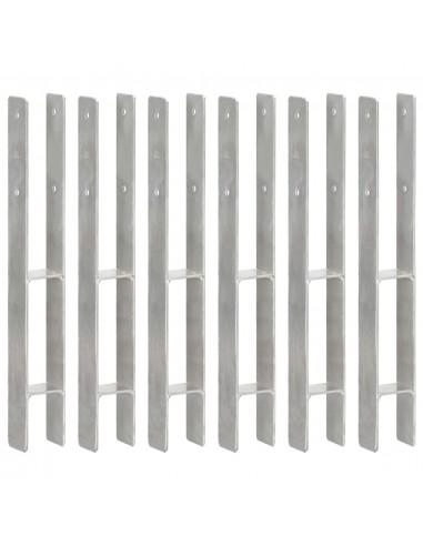 Tvoros stulpai, 6vnt., sidabrinės spalvos, 7x6x60cm, plienas | Kuoliukai | duodu.lt