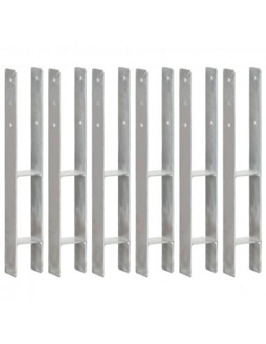 Tvoros stulpai, 6vnt., sidabrinės spalvos, 8x6x60cm, plienas | Kuoliukai | duodu.lt