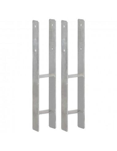 Tvoros stulpai, 2vnt., sidabrinės spalvos, 10x6x60cm, plienas | Kuoliukai | duodu.lt