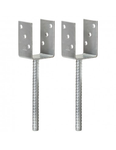 Tvoros stulpai, 2vnt., sidabrinės spalvos, 7x6x30cm, plienas | Kuoliukai | duodu.lt