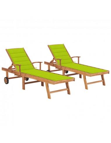 Saulės gultai su šviesiai žaliais čiužinukais, 2vnt., tikmedis   Šezlongai   duodu.lt