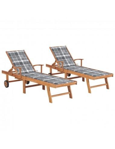 Saulės gultai su languotais čiužinukais, 2vnt., tikmedis   Šezlongai   duodu.lt