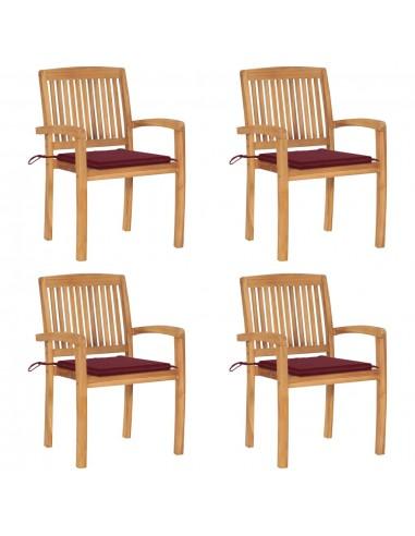 Sudedamos sodo kėdės su pagalvėlėmis, 4vnt., tikmedžio masyvas  | Lauko Kėdės | duodu.lt