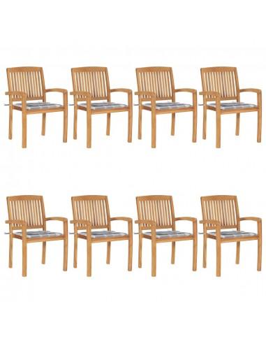 Sudedamos sodo kėdės su pagalvėlėmis, 8vnt., tikmedžio masyvas    Lauko Kėdės   duodu.lt