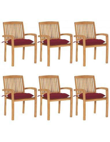 Sudedamos sodo kėdės su pagalvėlėmis, 6vnt., tikmedžio masyvas | Lauko Kėdės | duodu.lt