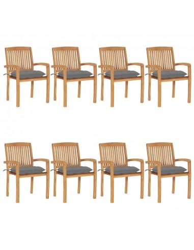 Sudedamos sodo kėdės su pagalvėlėmis, 8vnt., tikmedžio masyvas  | Lauko Kėdės | duodu.lt