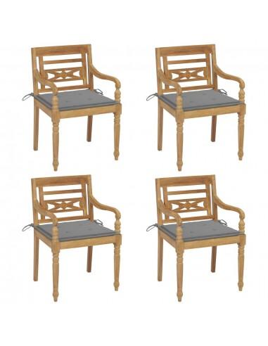 Batavia kėdės su pagalvėlėmis, 4vnt., tikmedžio masyvas | Lauko Kėdės | duodu.lt