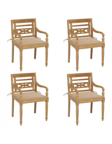 Batavia kėdės su pagalvėlėmis, 4vnt., tikmedžio masyvas   Lauko Kėdės   duodu.lt