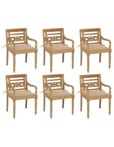 Batavia kėdės su pagalvėlėmis, 6vnt., tikmedžio masyvas | Lauko Kėdės | duodu.lt