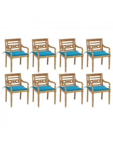 Batavia kėdės su pagalvėlėmis, 8vnt., tikmedžio masyvas | Lauko Kėdės | duodu.lt