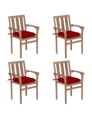 Sukraunamos sodo kėdės su pagalvėlėmis, 4vnt., tikmedis    Lauko Kėdės   duodu.lt