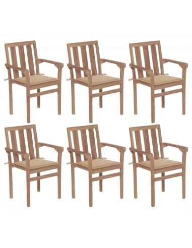 Sukraunamos sodo kėdės su pagalvėlėmis, 6vnt., tikmedis   Lauko Kėdės   duodu.lt