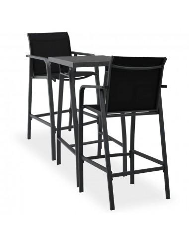 Sodo baro baldų komplektas, 3 dalių, juodos spalvos | Lauko Baldų Komplektai | duodu.lt