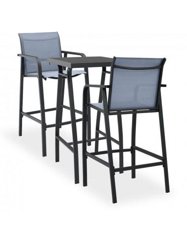 Sodo baro baldų komplektas, 3 dalių, juodos ir pilkos spalvos | Lauko Baldų Komplektai | duodu.lt