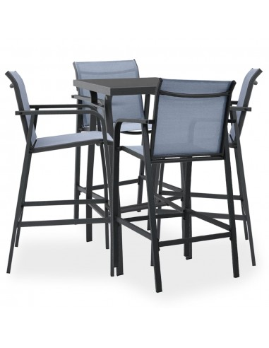 Sodo baro baldų komplektas, 5 dalių, juodos ir pilkos spalvos   Lauko Baldų Komplektai   duodu.lt
