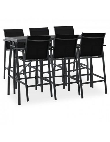 Sodo baro baldų komplektas, 7 dalių, juodos spalvos   Lauko Baldų Komplektai   duodu.lt