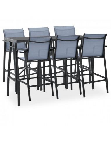 Sodo baro baldų komplektas, 7 dalių, juodos ir pilkos spalvos | Lauko Baldų Komplektai | duodu.lt