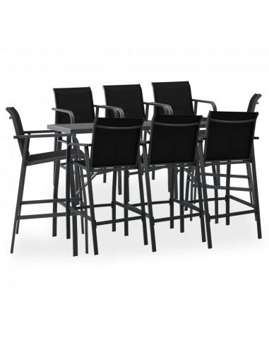 Sodo baro baldų komplektas, 9 dalių, juodos spalvos   Lauko Baldų Komplektai   duodu.lt
