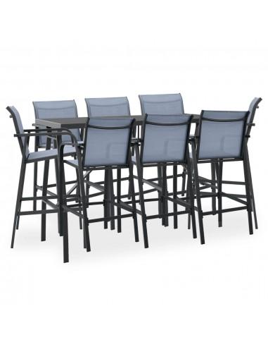Sodo baro baldų komplektas, 9 dalių, juodos ir pilkos spalvos | Lauko Baldų Komplektai | duodu.lt