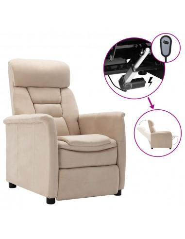 Elektrinis atlošiamas krėslas, kreminė, dirbtinė versta oda    Foteliai, reglaineriai ir išlankstomi krėslai   duodu.lt