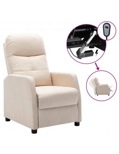 Elektrinis atlošiamas krėslas, kreminis, audinys    Foteliai, reglaineriai ir išlankstomi krėslai   duodu.lt