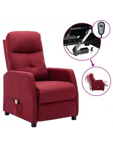 Elektrinis atlošiamas masažinis krėslas, vyno raudonas, audinys | Elektrinės Masažo Kėdės | duodu.lt
