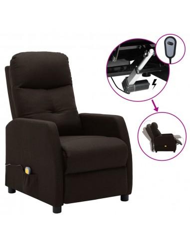 Elektrinis atlošiamas masažinis krėslas, tamsiai rudas, audinys  | Elektrinės Masažo Kėdės | duodu.lt