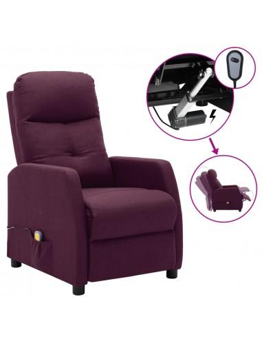 Elektrinis atlošiamas masažinis krėslas, violetinis, audinys  | Elektrinės Masažo Kėdės | duodu.lt