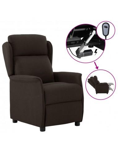 Elektrinis atlošiamas krėslas, tamsiai rudas, audinys  | Foteliai, reglaineriai ir išlankstomi krėslai | duodu.lt