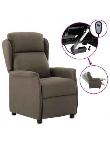 Elektrinis atlošiamas krėslas, taupe, audinys  | Foteliai, reglaineriai ir išlankstomi krėslai | duodu.lt