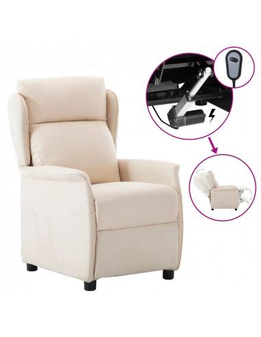 Elektrinis atlošiamas krėslas, kreminis, audinys  | Foteliai, reglaineriai ir išlankstomi krėslai | duodu.lt