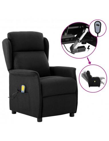 Elektrinis atlošiamas masažinis krėslas, juodas, audinys    Elektrinės Masažo Kėdės   duodu.lt