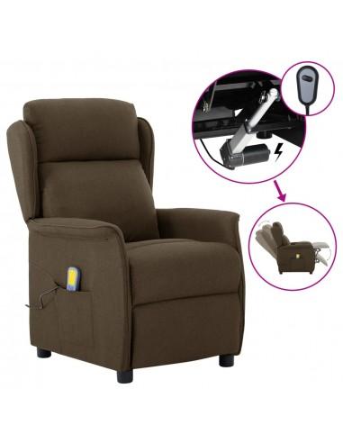 Elektrinis atlošiamas masažinis krėslas, rudas, audinys    Elektrinės Masažo Kėdės   duodu.lt