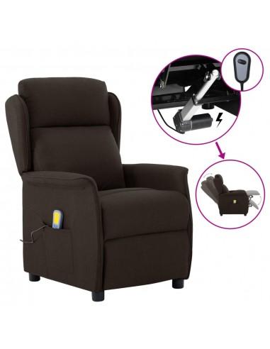 Elektrinis atlošiamas masažinis krėslas, tamsiai rudas, audinys    Elektrinės Masažo Kėdės   duodu.lt