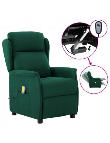 Elektrinis atlošiamas masažinis krėslas, žalias, audinys    Elektrinės Masažo Kėdės   duodu.lt