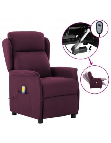 Elektrinis atlošiamas masažinis krėslas, violetinis, audinys    Elektrinės Masažo Kėdės   duodu.lt