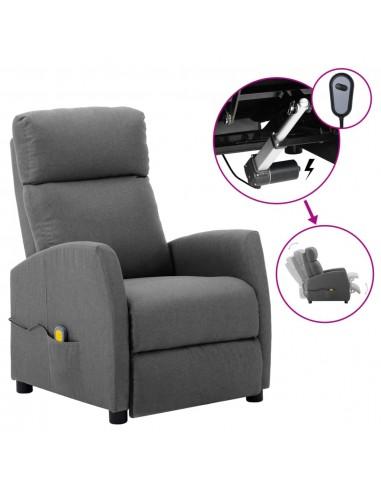 Elektrinis atlošiamas masažinis krėslas, šviesiai pilka, audinys    Elektrinės Masažo Kėdės   duodu.lt