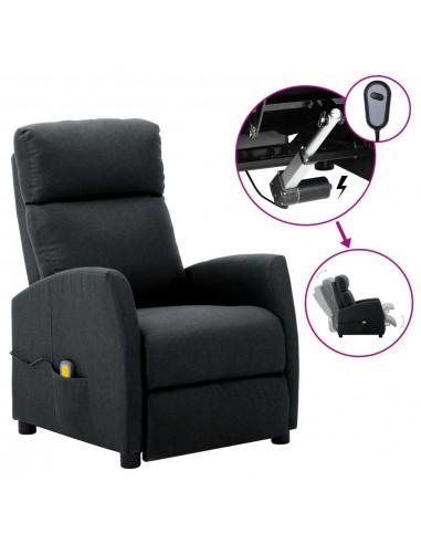 Elektrinis atlošiamas masažinis krėslas, tamsiai pilka, audinys  | Elektrinės Masažo Kėdės | duodu.lt