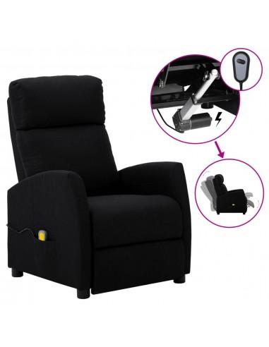 Elektrinis atlošiamas masažinis krėslas, juodas, audinys  | Elektrinės Masažo Kėdės | duodu.lt