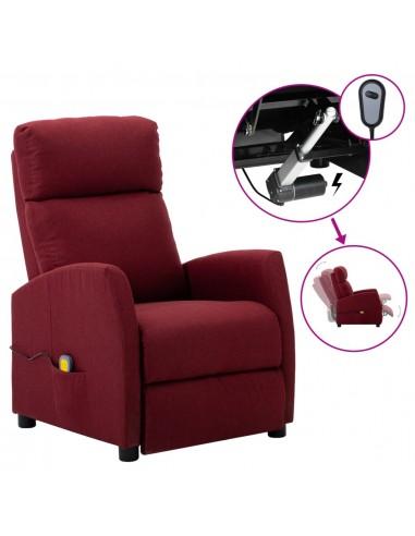 Elektrinis atlošiamas masažinis krėslas, vyno raudona, audinys   Elektrinės Masažo Kėdės   duodu.lt