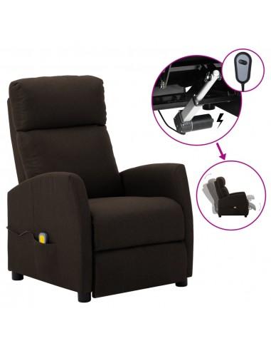 Elektrinis masažinis krėslas, tamsiai rudas, audinys    Elektrinės Masažo Kėdės   duodu.lt