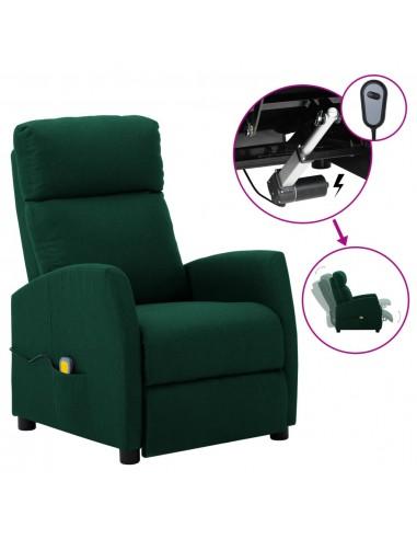 Elektrinis atlošiamas masažinis krėslas, tamsiai žalias, audinys  | Elektrinės Masažo Kėdės | duodu.lt