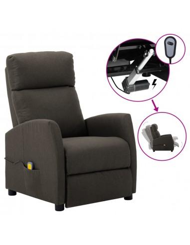 Elektrinis atlošiamas masažinis krėslas, taupe, audinys  | Elektrinės Masažo Kėdės | duodu.lt