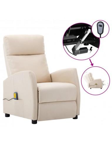 Elektrinis atlošiamas masažinis krėslas, kreminė, audinys  | Elektrinės Masažo Kėdės | duodu.lt