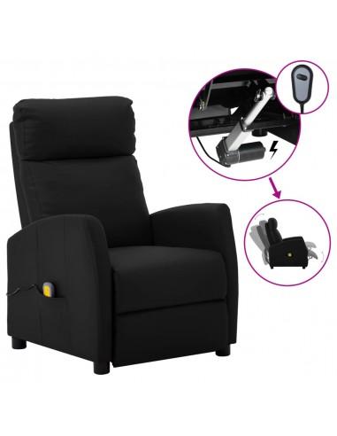 Elektrinis masažinis atlošiamas krėslas, juodas, dirbtinė oda  | Elektrinės Masažo Kėdės | duodu.lt