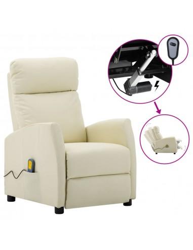 Elektrinis atlošiamas masažinis krėslas, kreminė, dirbtinė oda    Elektrinės Masažo Kėdės   duodu.lt