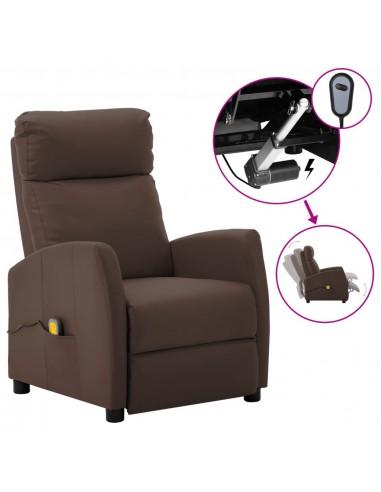 Elektrinis atlošiamas masažinis krėslas, rudas, dirbtinė oda    Elektrinės Masažo Kėdės   duodu.lt