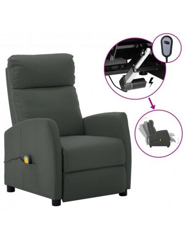 Elektrinė atlošiama masažinė kėdė, pilka, dirbtinė oda  | Elektrinės Masažo Kėdės | duodu.lt