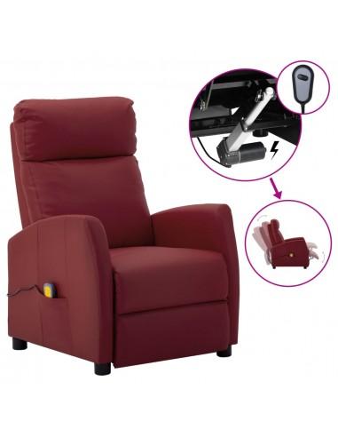Elektrinis atlošiamas masažinis krėslas, vyno, dirbtinė oda    Elektrinės Masažo Kėdės   duodu.lt